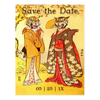 Lovely Tiger People Save the Date Invitations Postcard