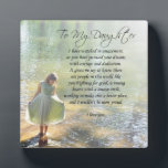 """Lovely &quot;To My Daughter&quot; Gift Plaque<br><div class=""""desc"""">Little girl stands in water,  lovely &quot;To My Daughter&quot; verse. Original photograph by Cherie Haines,  original verse by Angela Castillo.</div>"""