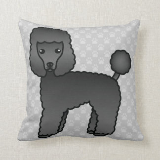 Lovely Toy Poodle Dog In Black Coat Color Throw Pillow