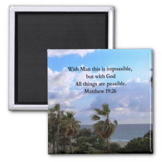 LOVELY TROPICAL MATTHEW 19:26 PHOTO DESIGN MAGNET