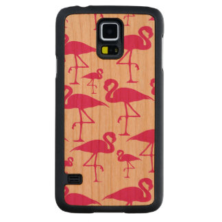 Lovely Tropical Pink Flamingo Carved Cherry Galaxy S5 Slim Case