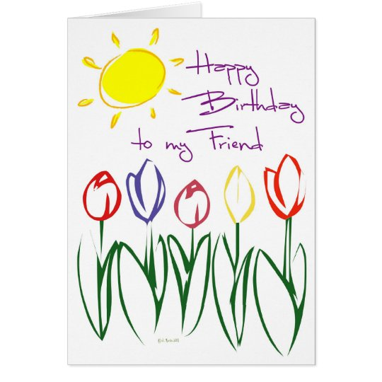 Lovely Tulip Sketch Birthday Card for Friend