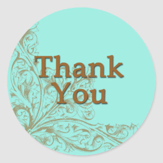 Lovely Turquoise and Chocolate Brown Thank You Classic Round Sticker