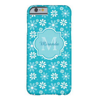 Lovely Turquoise Daisy Flowers Monogram and Name Barely There iPhone 6 Case