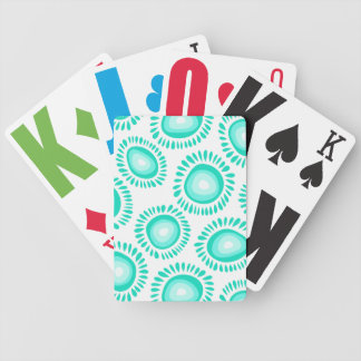 Lovely turquoise funky flowers Playing Cards