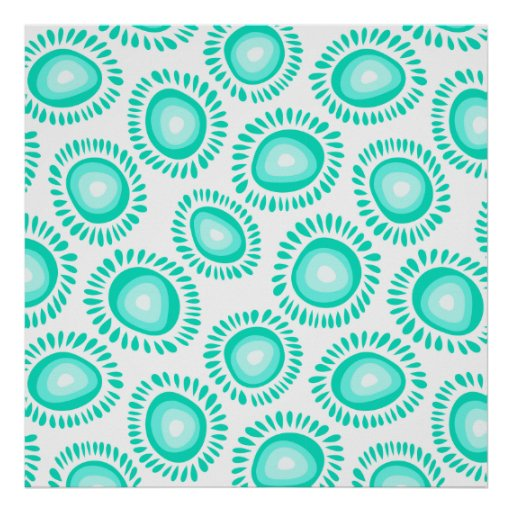 Lovely turquoise funky flowers Poster