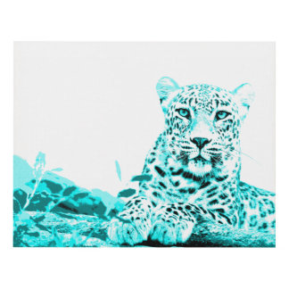 Lovely Turquoise Leopard on White Background Panel Wall Art