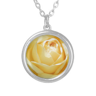 Lovely Unfolding Yellow Rose Silver Plated Necklace