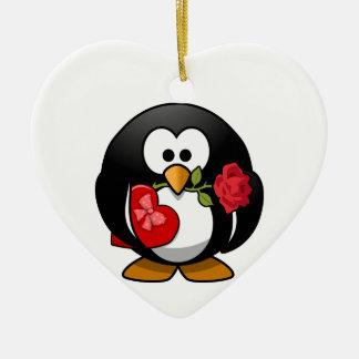 Lovely Valentine Penguin Ceramic Ornament