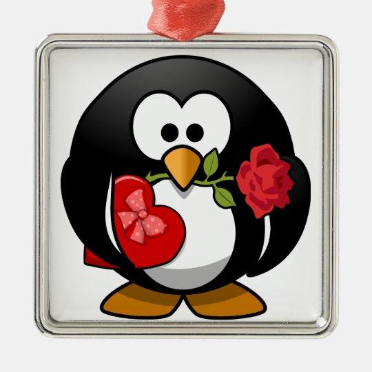Lovely Valentine Penguin Metal Ornament