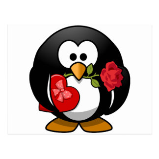 Lovely Valentine Penguin Postcard