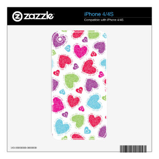 """Lovely Valentine's Day hearts and """"I love you""""text iPhone 4 Skin"""