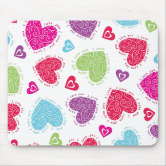 "Lovely Valentine's Day hearts and ""I love you""text Mouse Pad"