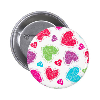 """Lovely Valentine's Day hearts and """"I love you""""text Pinback Button"""