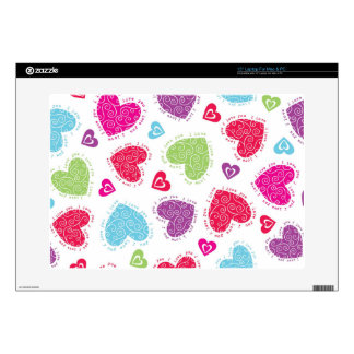 """Lovely Valentine's Day hearts and """"I love you""""text Skin For Laptop"""