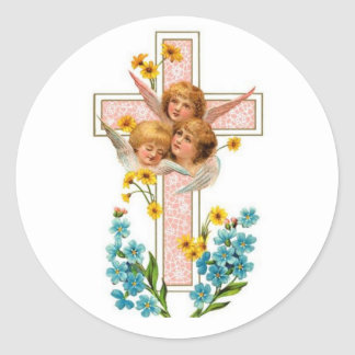 Lovely Vintage Angels With Pink Cross Classic Round Sticker