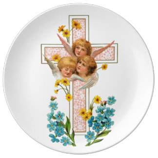 Lovely Vintage Angels With Pink Cross Dinner Plate
