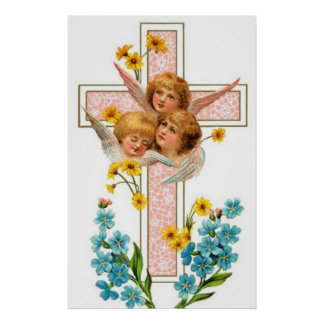 Lovely Vintage Angels With Pink Cross Poster