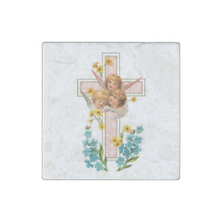 Lovely Vintage Angels With Pink Cross Stone Magnet
