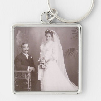 Lovely Vintage Antique Bride and Groom Cards, Gift Keychain