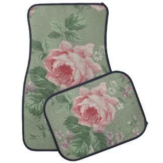 Lovely Vintage Botanical Floral Pink Rose Print Car Floor Mat