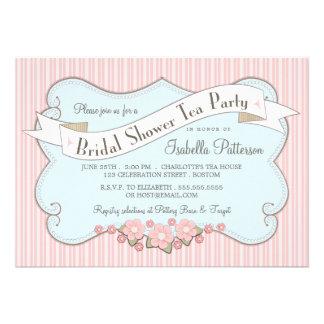 Lovely Vintage Bridal Shower Tea Party Invitation