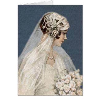 Lovely Vintage Bride, Antique Blue Card