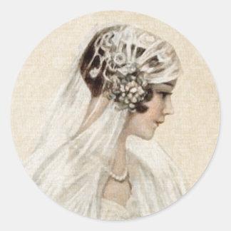 Lovely Vintage Bride Classic Round Sticker