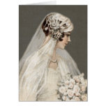 Lovely Vintage Bride, Gray Greeting Card