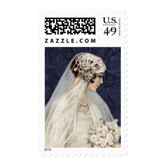 Lovely Vintage Bride, Navy Pattern Postage