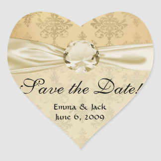 lovely vintage distressed gold damask heart sticker