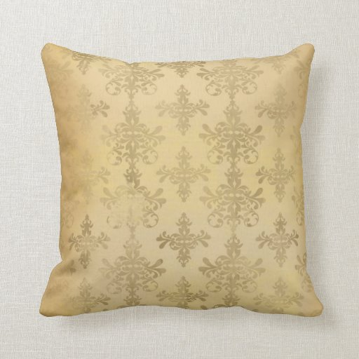 lovely vintage distressed gold damask throw pillow