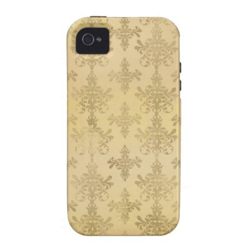lovely vintage distressed gold damask vibe iPhone 4 covers