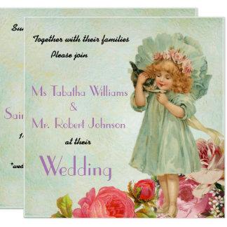 Lovely Vintage Floral Square Wedding Invitation