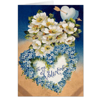 Lovely Vintage Flowers Heart Valentine Day's Card