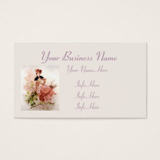 Lovely Vintage Lady In Pink Dress Business Card