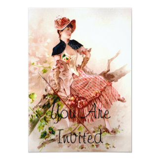 Lovely Vintage Lady In Pink Dress 13 Cm X 18 Cm Invitation Card