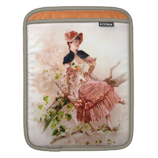 Lovely Vintage Lady In Pink Dress iPad Sleeve