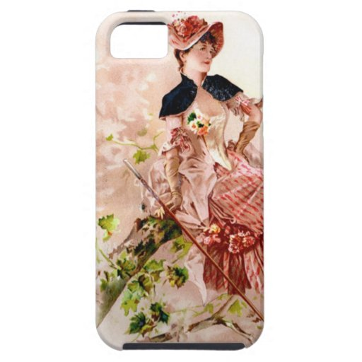 Lovely Vintage Lady In Pink Dress iPhone 5 Case