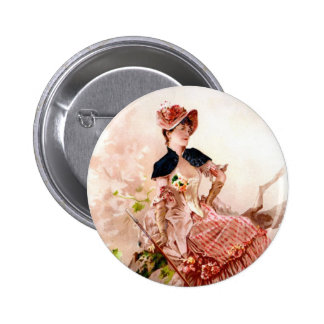 Lovely Vintage Lady In Pink Dress Pinback Button