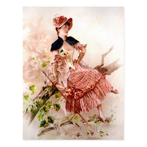 Lovely Vintage Lady In Pink Dress Postcards