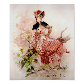 Lovely Vintage Lady In Pink Dress Poster