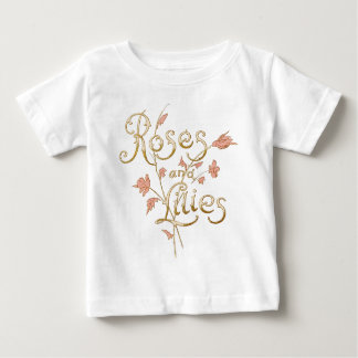 Lovely Vintage Old Roses and Lilies Text Design Baby T-Shirt