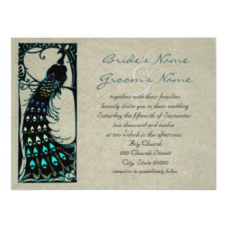 Lovely Vintage Peacock Art Nouveau Wedding 6.5x8.75 Paper Invitation Card