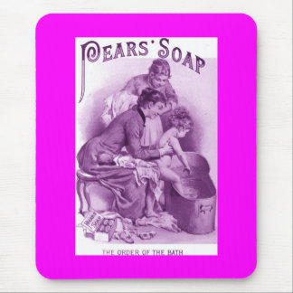 Lovely Vintage Pears Soap Ad Pink Purple and White Mouse Pad