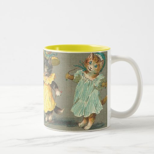 Lovely Vintage playful kittens Two-Tone Coffee Mug