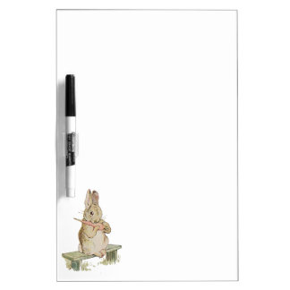 LOVELY VINTAGE RABBIT WITH CARROT, BUNNY BOARD Dry-Erase WHITEBOARDS