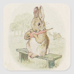 LOVELY VINTAGE RABBIT WITH CARROT,  BUNNY STICKER