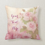 "Lovely Vintage Soft Pink Roses Floral Watercolor Throw Pillow<br><div class=""desc"">Lovely,  pale pink roses over beautiful watercolor background. Customize with your names and other text for a personalized gift.</div>"
