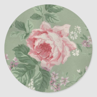 Lovely Vintage Victorian Rose Classic Round Sticker